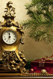 Christmas still life with gift box. Christmas composition with holiday decoration Stock Photo