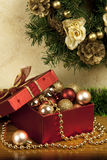 Christmas still life with gift box. Christmas composition with holiday decoration Stock Image