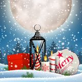 Christmas still-life with gift boxes and lantern. Christmas still-life, old lantern, candles, red gift box and sign with text Merry Christmas in snowy landscape stock illustration