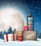 Christmas still-life with gift boxes and lantern. Christmas still-life, rustic wooden box, old lantern, candles, gift box in snowy landscape with big shinny moon stock illustration