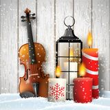 Christmas still-life with gift candles and violin stock photos