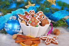 Christmas still life with gingerbread cookies Stock Photos