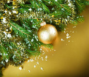 Christmas still life on gold background Stock Photography