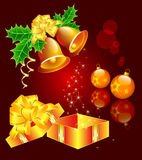Christmas still-life with hand bells, Christmas-tr. Vector composition with hand bells, Christmas-tree decorations and a gift Royalty Free Stock Photos