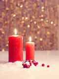 Christmas still life.Happy New Year. Candle Royalty Free Stock Photos