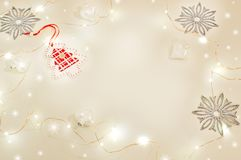 Christmas still life with holiday lights. Tangerines, wooden decoration red stars, Christmas tree, silver snowflakes, white glass Royalty Free Stock Photos