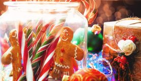 Christmas still life. homemade ginger biscuits, cane candy, on a Royalty Free Stock Images