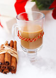 Christmas still life with hot chocolate nestling in fresh snow Stock Image