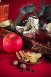 Christmas still life with hot wine and spices Stock Photography