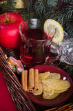 Christmas still life with hot wine and spices Stock Images