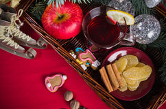 Christmas still life with hot wine and spices Royalty Free Stock Image
