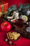 Christmas still life with hot wine and spices Stock Photos