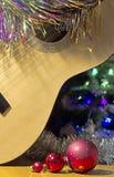Christmas guitar decoration balls royalty free stock photos