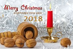 Christmas Still Life with Merry Christmas and Happy New. Christmas Still Life with Writing Merry Christmas and Happy New Year Stock Images