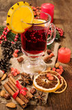 Christmas still life: mulled wine and spices Stock Photo