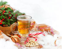 Christmas still life nestling in fresh snow Royalty Free Stock Photo