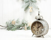 Christmas still life with an old alarm clock Stock Images
