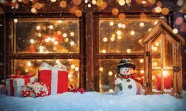 Christmas still life with old wooden window royalty free stock photos