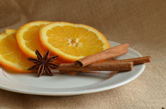 Christmas still life. With oranges and cinnamon Stock Photography