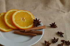 Christmas still life. With oranges and cinnamon Royalty Free Stock Photos