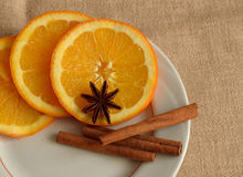 Christmas still life. With oranges and cinnamon Royalty Free Stock Images