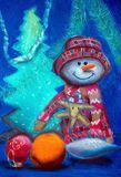 Cheerful snowman. Gouache on paper. Naive Art. Abstract art. Painting gouache on paper. Children`s creativity. Christmas still life. Painting wet watercolor on royalty free illustration