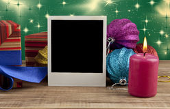Christmas still life with a photo Stock Photography