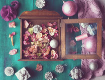 Christmas still life with pink and silver decorations Stock Photo