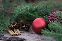 Christmas still life of red ball, cones. Royalty Free Stock Photo