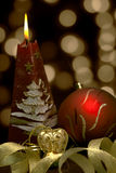 Christmas  still life - red burning candle with ev Stock Images
