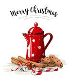 Christmas still-life, red tea pot, brown cookies, cinnamon sticks and jingle bells on white background, illustration. Christmas still-life, red tea pot, brown Royalty Free Stock Photos