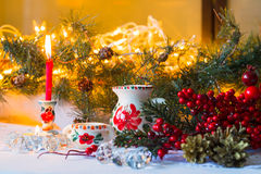 Christmas still life in the Russian style with the national dishes (Dymovskiy) Royalty Free Stock Photos