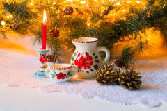 Christmas still life in the Russian style with the national dishes (Dymovskiy) Stock Photos