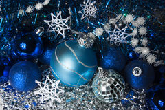 Christmas still life in shades of blue Stock Photos
