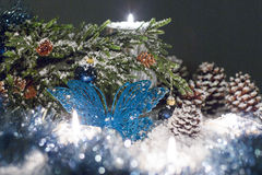 Christmas still life is with snow. Stock Photo