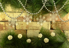 Christmas still life with snowflakes Stock Photo