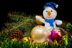 Christmas still-life with snowman Stock Image
