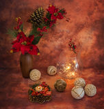 Christmas still life with sparklers and ornaments,. Christmas still life with sparklers and ornaments in warm colors stock photos