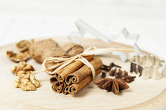 A christmas still life with spice Royalty Free Stock Images