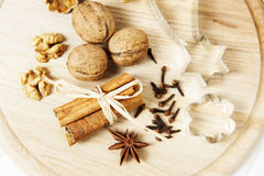Christmas still life with spice and nuts Stock Photography