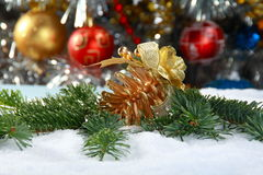 Christmas Still Life with spruce and toys. Stock Photography