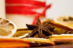 Christmas still-life with star anise and dry oranges. Around Royalty Free Stock Image