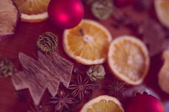 Christmas still life with fruit and spices Royalty Free Stock Photos