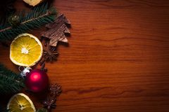Christmas still life with fruit and spices Royalty Free Stock Images
