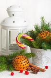 Christmas still life with tangerine Royalty Free Stock Image