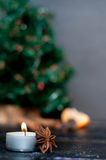 Christmas still life with tangerine Royalty Free Stock Photos
