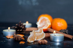 Christmas still life with tangerine Stock Image