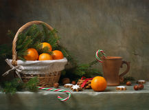 Christmas still life with tangerines royalty free stock photo