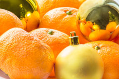 Christmas still life with tangerines Stock Photo