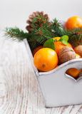 Christmas still life with tangerines Royalty Free Stock Photos